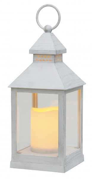 "LED-Laterne ""Agra"", flackernd  Material: Kunststoff/Acryl, Farbe: weiss  Timer, ca. 24 x 10 cm  batteriebetrieben"