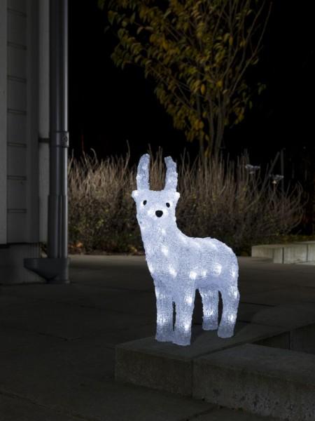 LED Acryl Rentier 6h Timer, 32 kalt weiße Dioden, batteriebetrieben, Außen