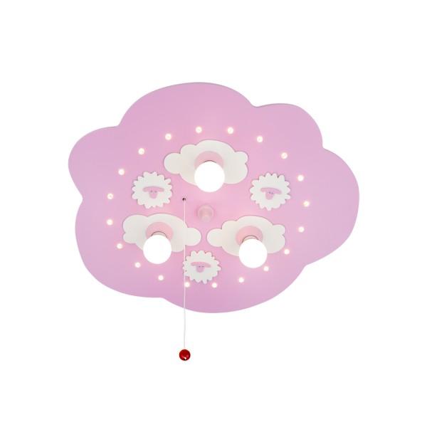 Schäfchenwolke rosa 3-flammig