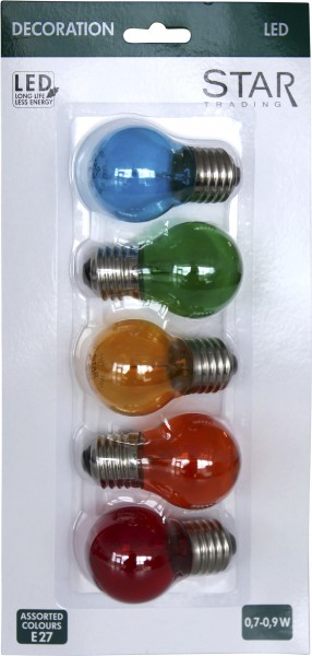 Filament LED, E27, 5er Pack,