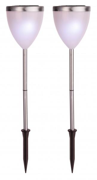 LED-Solar-Pathlights, 2er Set silber, ca. 34x10 cm